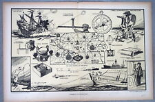 gravure signée Haffner navigation Histoire Marine instruments astrolabe sextant