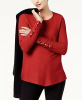 Alfani Women's Long Sleeves Ribbed Snap-Detail Sweater Banner Red X-Large Size