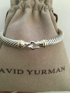 David Yurman Cable Classic Buckle Bracelet 5mm Sterling Silver with 18k Gold M
