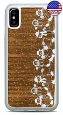 Cute Christmas Case Snow Cover Snowman Wood Pattern iPhone Xs Max XR X 8 7 Plus