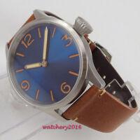 43mm PARNIS steril Bau dial Steel Case Handaufzug mechanisch Uhr men's Watch