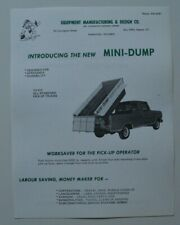 Equipment Manufacturing Mini Dump 1960s dealer sheet brochure - English - Canada