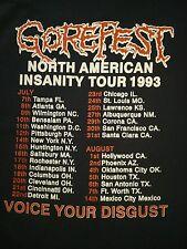 GOREFEST - False 1993 NORTH AMERICAN INSANITY TOUR T-Shirt Sz. XL Thrash Metal