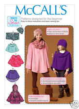 M7012 Childrens Poncho Hat Scarf Learn 2 Sew Sizes XS-S McCall's Sewing Pattern
