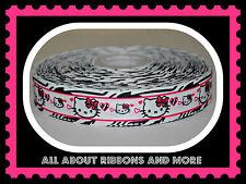 7/8 INCH HELLO KITTY ZEBRA WITH HOT PINK STRIPE GROSGRAIN RIBBON-1  YD