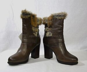 NIB Frye Penny Luxe Moto Leather & Real Fur Boots Women's Size 10 M in Dark Grey