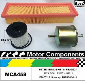 FILTER KIT Oil Air Fuel for PEUGEOT 207 A7 CC Trb EP6DT 1.6L Petrol 7/07>1/12