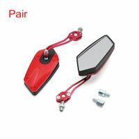 Pair Black Red Adjustable Pentagon Rearview Mirror for Motorcycle Motorbike