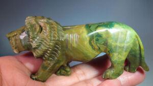 "3.5"" Large Green Jade Gemstone Lion Carving from Zimbabwe *1786"