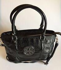 Tory Burch Amanda Medium Satchel in Black Patent Leather Crossbody Bag