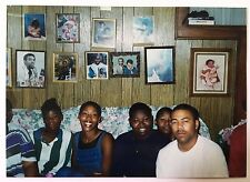 Vintage PHOTO Family Members Sitting On Couch With Family Photos On The Wall