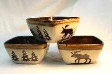 3 HOME STUDIO Woodland Bowls Brown Moose Pine Trees Rustic Soup Cereal Cream