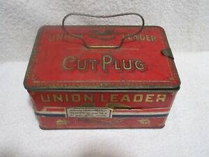 vintage Union Leader Cut Plug tobacco tin with latch and handle lot A