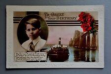 R&L Postcard: Birthday Bot Greetings, Old Iron Bridge & Stamer Ship Ferry