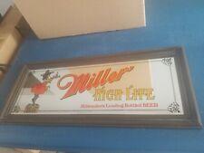 (Vtg) miller high life beer girl on the moon on wooden case mirror sign wi bar