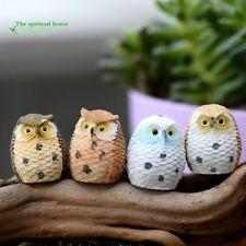 4x Night Owl Statue Fairy Garden Ornament Miniature Figurine Dollhouse DIY Decor
