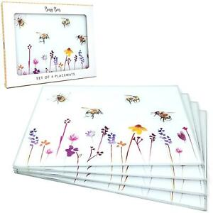 Set of 4 Watercolour Busy Bees Floral Glass Place Mats Dining Table Mats UK