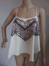 EXPRESS Medium IVORY SEQUIN EMBELLISHED GEO CAMI tank top shirt strappy (M 8-10)