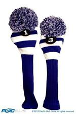 1 3 Classic BLUE WHITE KNIT POM golf club Headcover Head covers Set colors