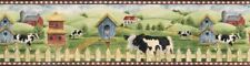COUNTRY COW FARM, BIRDHOUSES Wallpaper Border AFR7123