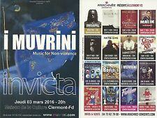 FLYER PLV - I MUVRINI ( CORSE) CONCERT LIVE 2016 A CLERMONT FERRAND - AUVERGNE