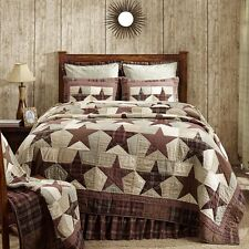 Abilene Star Quilt Tan,Brown & Red Patchwork King or Queen Comforter+Accessories