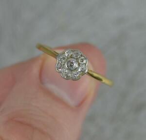 Edwardian Diamond 18ct Gold & Platinum Daisy Cluster Ring t0237