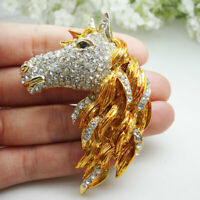 Exquisite Horse Head Animal Clear Crystal Rhinestone Gold-tone Brooch Pin