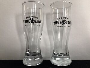 """Lot of 2 OMME GANG BREWERY MINI 4.25"""" GOT PILSNER GLASS COOPERSTOWN NEW YORK NY"""