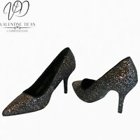 F&F Women's Shoes Glittery Party Shoes Mid Heel Courts Size 7 Uk Widefit