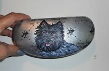 Cairn Terrier Brindle Dog Eyeglass Sunglass case Hand Painted Designer