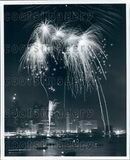 Night Scene Fireworks Over Waterfront Skyline Location Unknown Press Photo