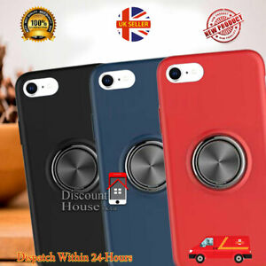 For iPhone 5,6,7,8,9,X,XS,XR,11 PU Rubber Case Skin Cover With Ring Stand Holder
