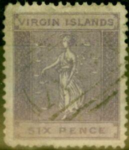 Virgin Islands 1887 6d Dull Violet SG38 Good Used