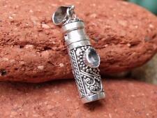 925 argento preghiera / ghau BOX CIONDOLO taglio il topazio blu gioielli artigianali