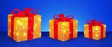 Premier 3 pezzi fiocco rosso glitter oro PACCHI, decorazioni natalizie, luci LED.