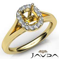 Cushion Diamond Engagement Semi Mount 14k Yellow Gold Halo Prong Set Ring 0.2Ct