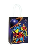 Superhero Paper Party Bags x 6 Blue Loot Bags Boys Birthday Favour Kids