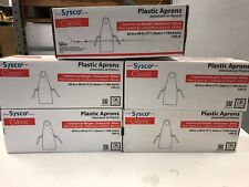 "CASE OF 500 SYSCO PLASTIC APRONS 28""X46"" WHITE EMBOSSED COMMERCIAL FREE SHIPPING"