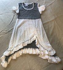 LILLI LOVEBIRD Ruffle Dress White & Gray Sz 8