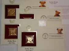 22K Gold 2002 Teddy Bears Set of 4 Gold Proof Stamp 1st Day Cover w/Addr