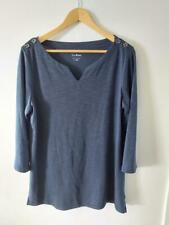 L L Bean Womens Blouse 3/4 sleeves Blue Sz L V Neck Casual Top Shirt