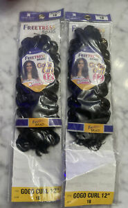 """FreeTress Synthetic Hair Crochet Braids GoGo Curl 12"""" Lot Of 2"""