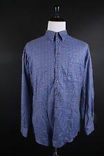 Paul Fredrick Long Sleeve Button Down Shirt Size XL Trim Fit Blue Plaid