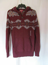 NWT Men's Arizona Burgundy Aztec Design Long Sleeve Sweater Shirt Sz Small