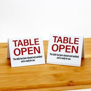 Table Open Signs, Clean & Sanitized, Plastic Table Tents, 15pk, Free Shipping