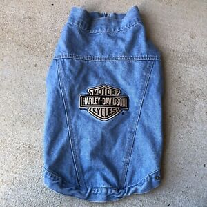 Vintage 2001 Harley-Davidson Embroidered Dog ~ Pet Denim Jean Jacket XL 🚚💨