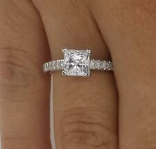 1.30ct Princess-Cut Delicated Diamond Solitaire Engagement Ring 14k White Gold
