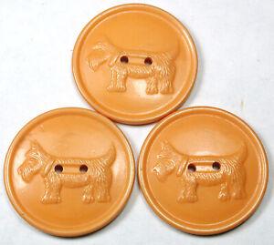 """3 Vintage Bakelite Buttons Butterscotch Color Scottie Dog Design - 1 & 1/8"""""""