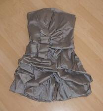Cocktailkleid Minikleid XS 34/36 silber grau Abendkleid Hochzeit Partykleid NEU
